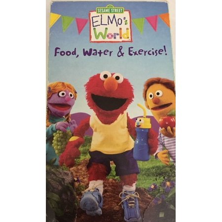Sesame Street Elmo S World Food Water Exercise Vhs Tested Rare Ships N 24 Hrs