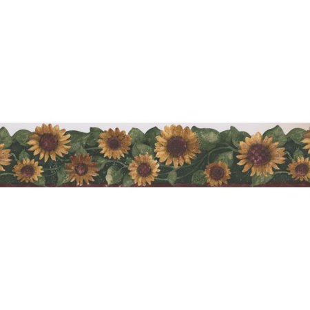 Retro Art Sunflower Floral Flowers 15' x 5.75'' Wallpaper Border](Dc Comics Batman Wallpaper)