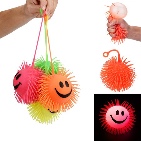 Flashing Puffer Ball (Flashing Puffer Balls Squeezable Stress Squishy Toy Stress Relief Ball For Fun)