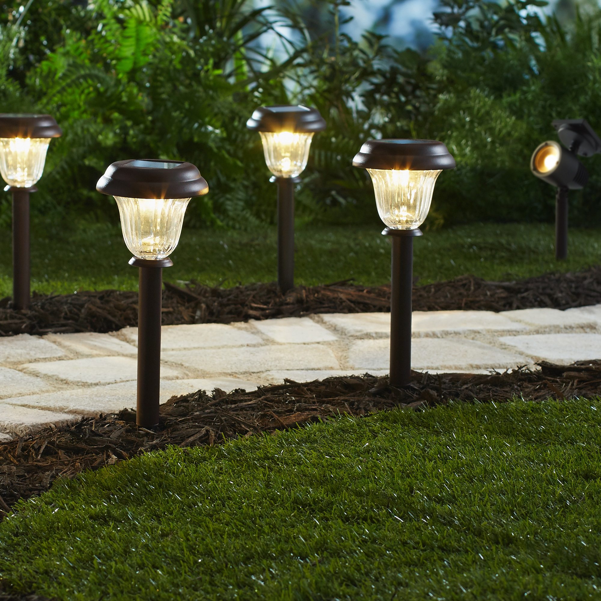 Mainstays 8 Piece Solar-Powered LED Pathway Lighting Set