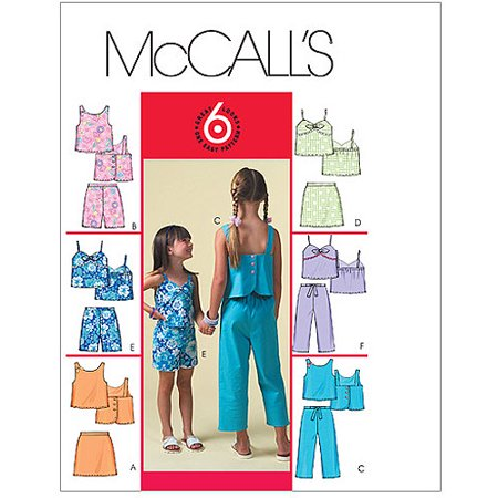 McCall's Pattern Children's and Girls' Tops, Skorts, Shorts and Capri Pants, CCE (3, 4, 5, 6)