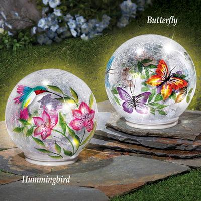 Lighted Crackle Glass Garden Globe Ball Outdoor Yard or Table Decoration, Hummingbird ()