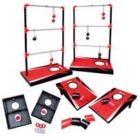 ESPN 3 in 1 Ladder Toss, Bean Bag/Cornhole Toss, Washer Toss, Lawn Game, Quick/Easy Transform, Red/Black