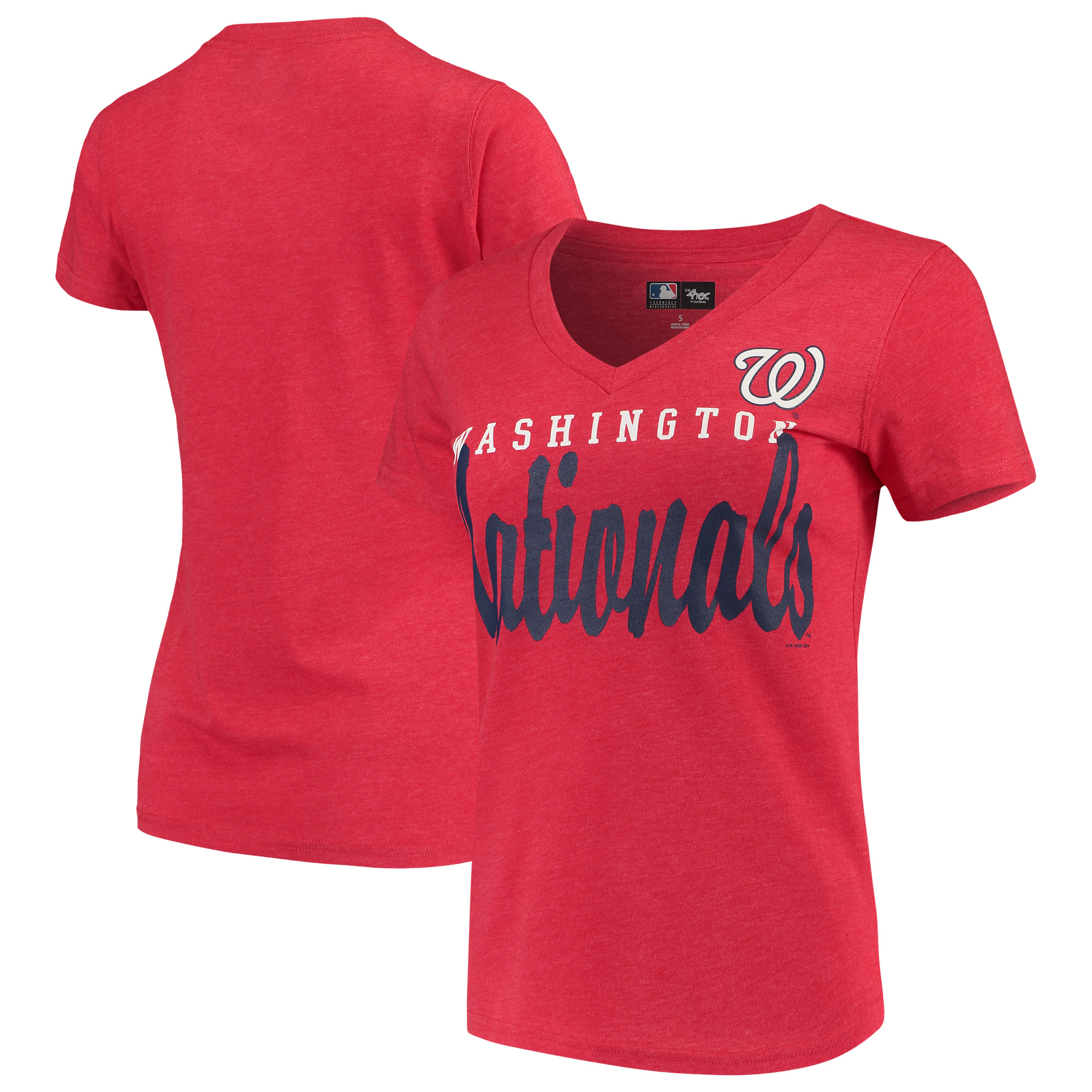 Washington Nationals G-III 4Her by Carl Banks Women's Game Day V-Neck T-Shirt - Red