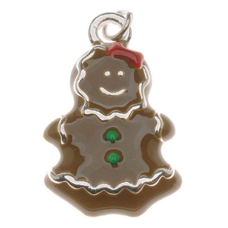 Silver Plated With Enamel - Gingerbread Girl Charm 23mm (1)