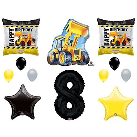 12pc new BALLOON set 8th BIRTHDAY party CONSTRUCTION truck DUMP bulldozer TRACTOR gift FAVORS decorations PHOTO booth PROPS](Dump Truck Party Supplies)