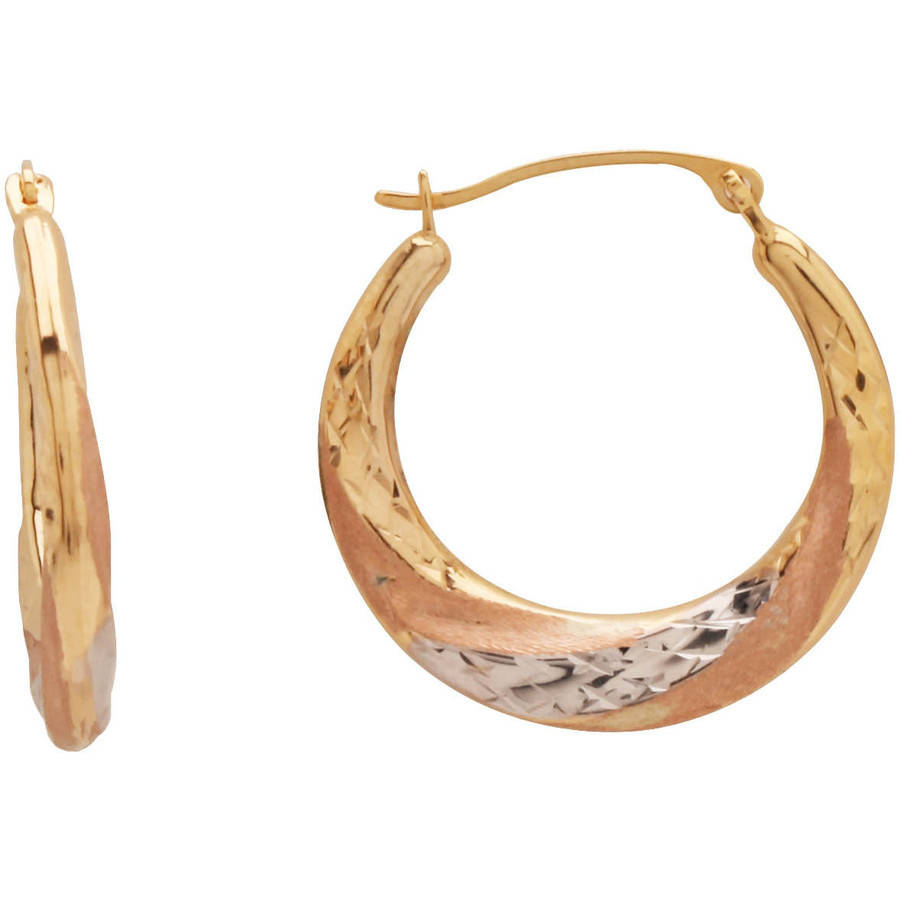 Simply Gold Pink and White Rhodium Swirl 10kt Yellow Gold Hoop Earrings