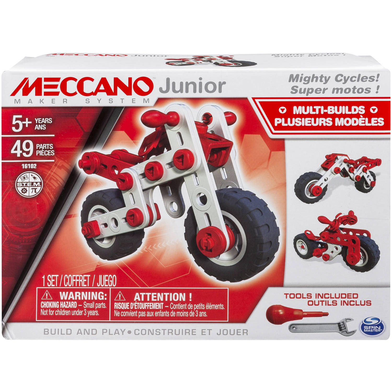 Meccano-Erector Junior, 3 Model Building Kit, Mighty Cycles by Spin Master Ltd
