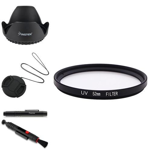 Insten 52MM FILTER UV+LENS CLEANING PEN+SNAP-ON CAP COVER+HOOD FOR NIKON D70 CAMERA
