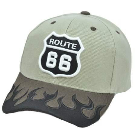 Historic Route 66 Highway Rogers Fire Flames  Mother Road America Hat Cap ()