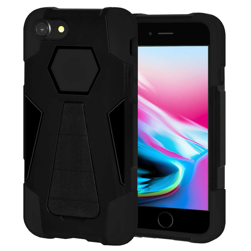 iPhone 8 Case, Premium Slim Fit Dual Layer Soft Silicone Hard Shell Case ShockProof Back Cover with Stand for Apple iPhone 8 - Black/ Black, Raised Bezel Screen Protection, Drop Resistant