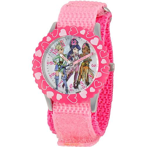 Disney Fairy Girls' Stainless Steel with Bezel Watch, Pink Nylon Strap