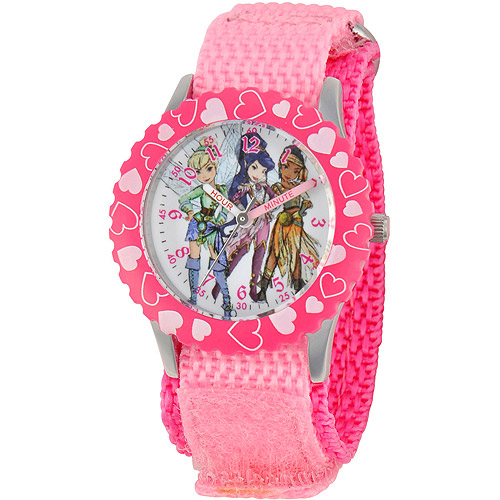 Disney Fairy Girls' Stainless Steel with Bezel Watch, Pink Nylon Strap