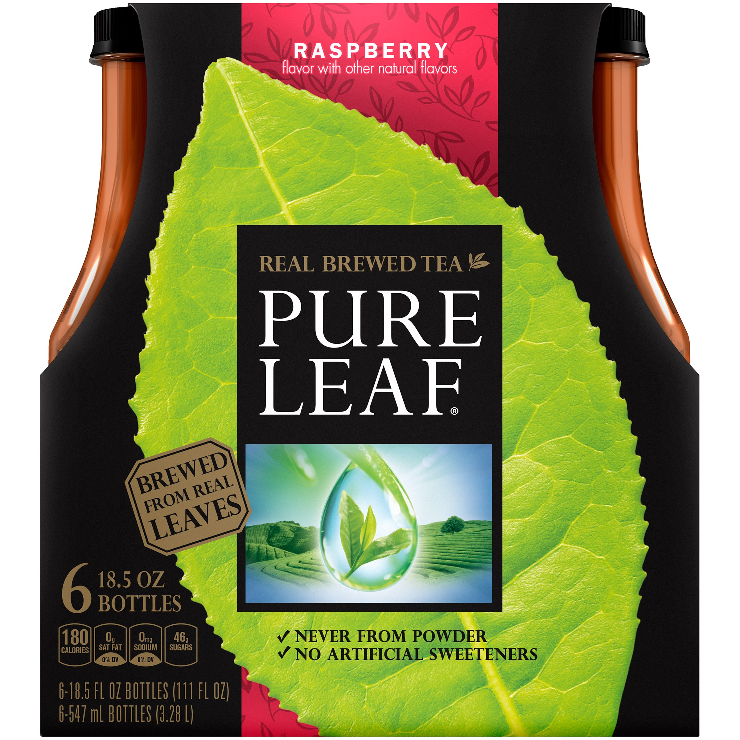 Pure Leaf Raspberry Iced Tea, 6 Count, 18.5 fl. oz. Bottles