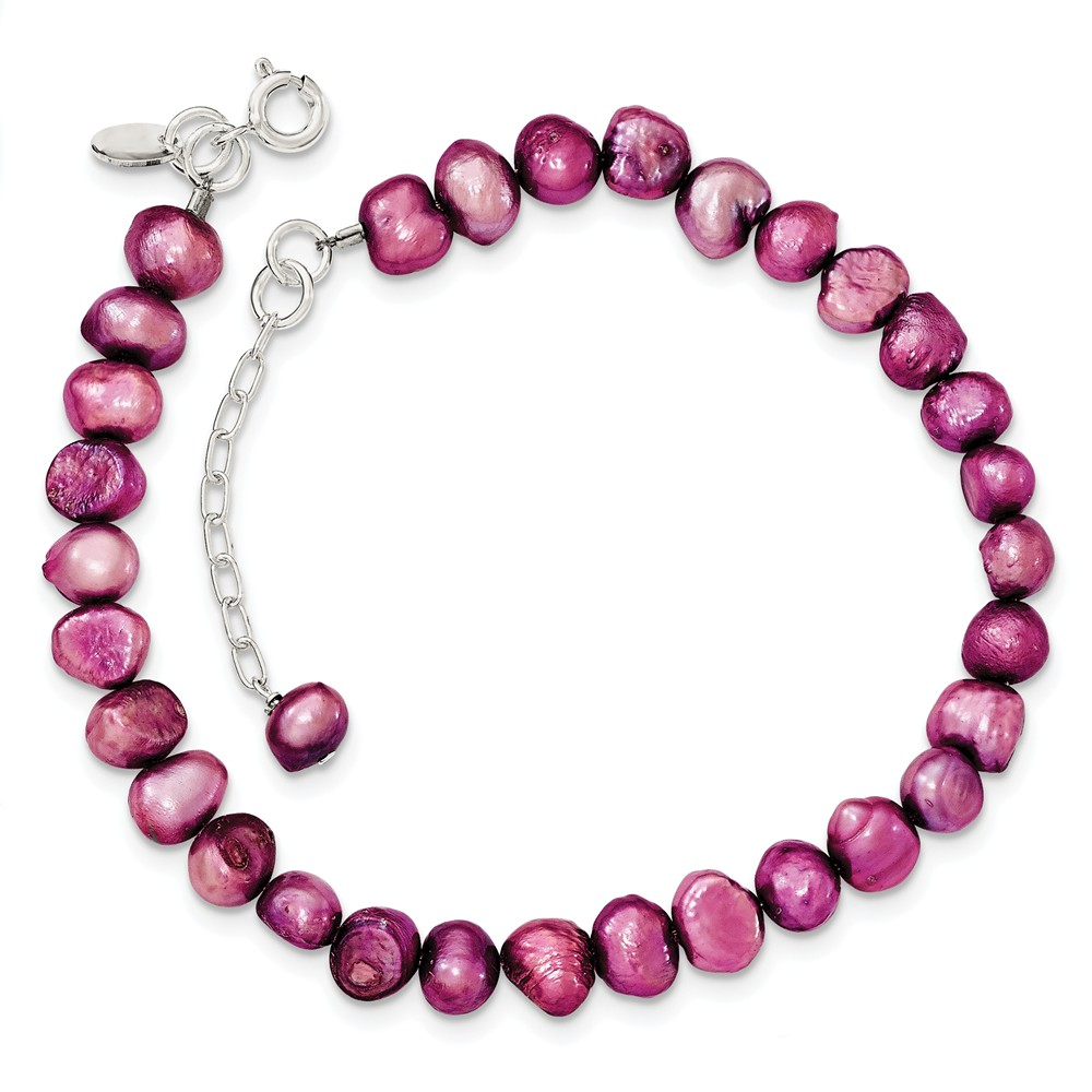Sterling Silver 8.5in Pink Freshwater Cultured Pearl Bracelet