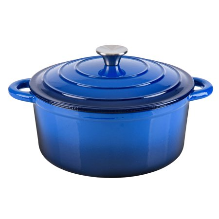Hamilton Beach 5.5 Quart Enameled Cast Iron Covered Round Dutch Oven Pot, Blue