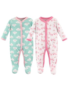 Luvable Friends Baby Girl Cotton Sleep N Play, 2-Pack