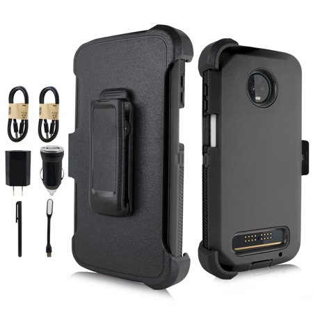- VALUE PACK + For Motorola Moto Z3/Z3 Play Holster Hybrid Layers Shock Resistant Design Protective Phone Case with Built-in Screen Protector and Kickstand (Black)