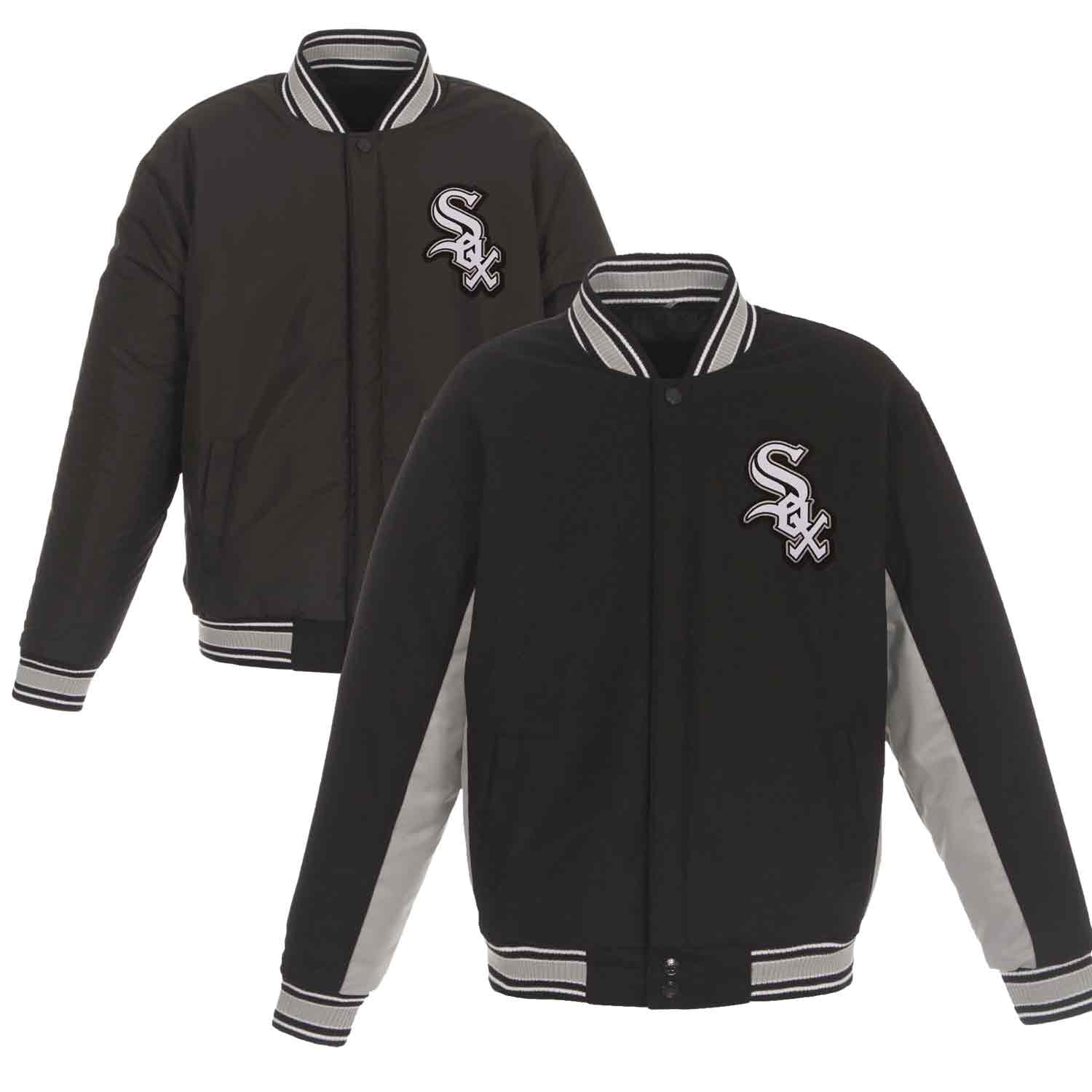 Chicago White Sox JH Design Wool Poly-Twill Accent Jacket - Black