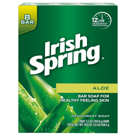Irish Spring Aloe Vera Bar Soap, 3.7 Ounce, 8 Bar Pack (Soap Bar Grinder)