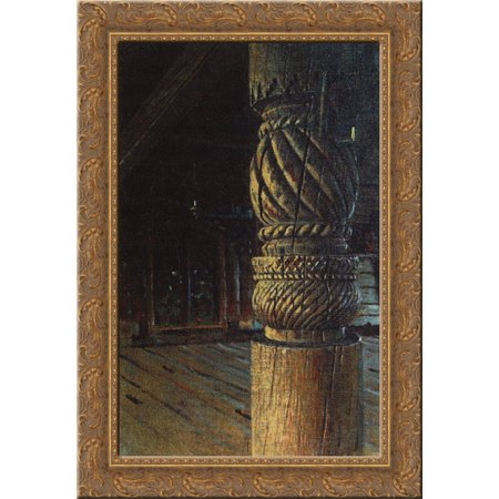 Carved pillar in the refectory of the Petropavlovsk church in the village Puchugi in Vologda province 24x16 Gold Ornate Wood Framed Canvas Art by Vasily Vereshchagin