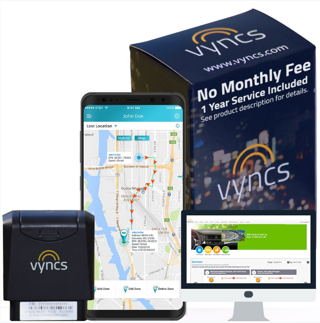 Vyncs No Monthly Fee Connected Car GPS Tracker Trips Engine Diagnostics Driving Alerts Optional Roadside Assistance