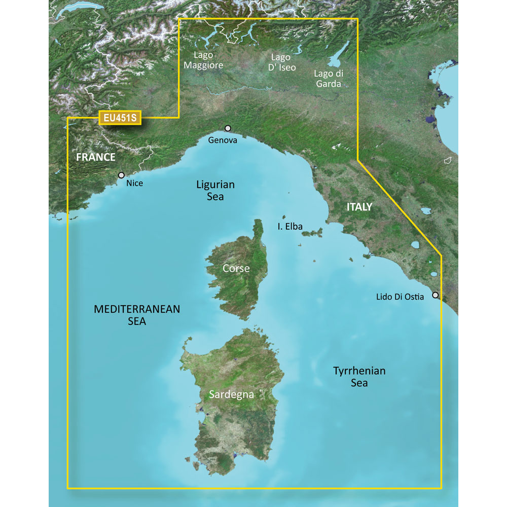 GARMIN VEU451S LIGURIAN SEA CORSICA AND SARDINIA BLUECHART