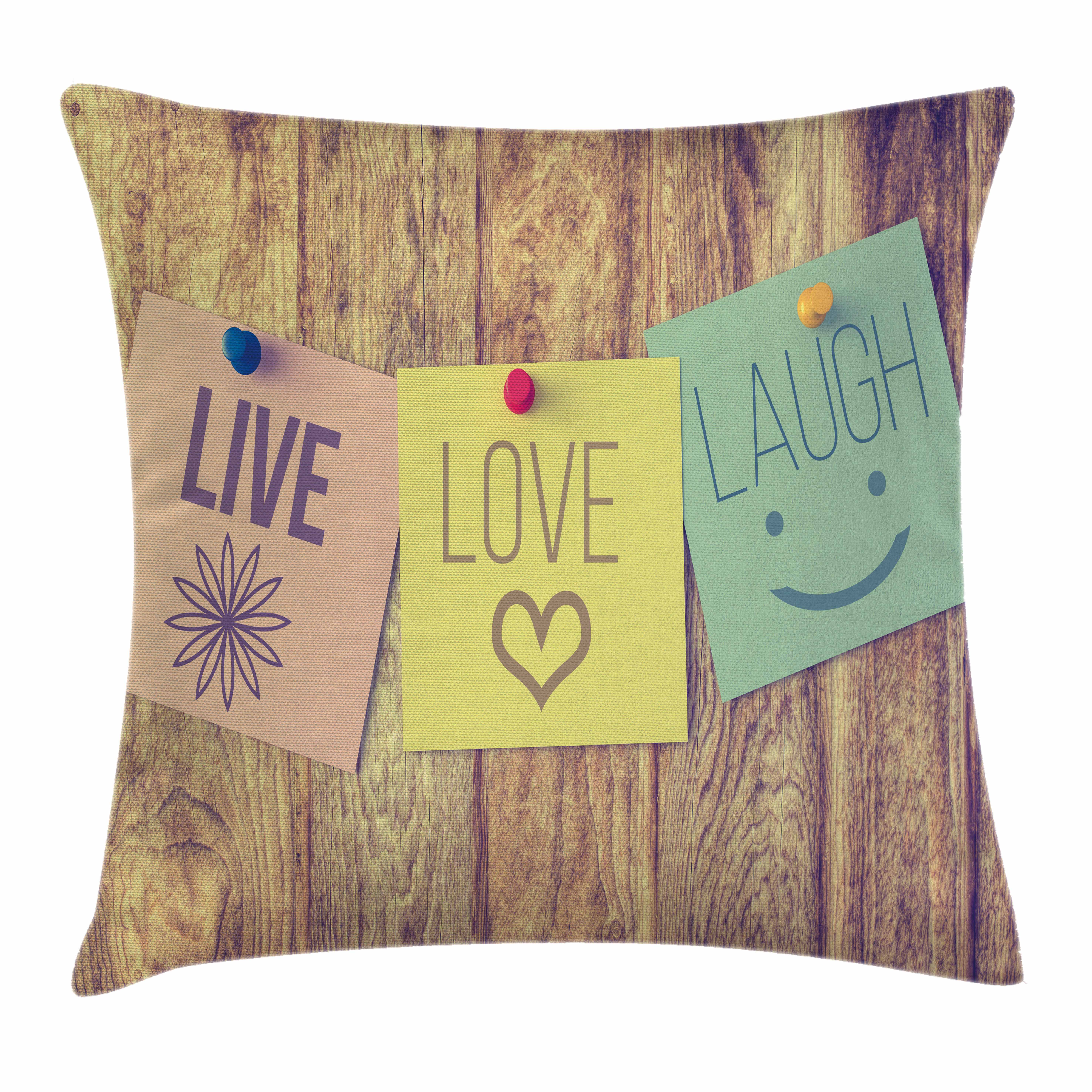Live Laugh Love Decor Throw Pillow Cushion Cover, Inspirational Wisdom Post-It Perks on Wooden Rustic Background Image, Decorative Square Accent Pillow Case, 16 X 16 Inches, Multicolor, by Ambesonne