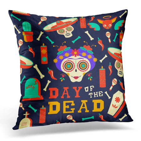 ECCOT Flower Mexican Happy Catrina Sugar Skull with Traditional Includes Mariachi Hat Chihuahua Dog and Food Pillowcase Pillow Cover Cushion Case 18x18 inch - La Catrina Sugar Skull
