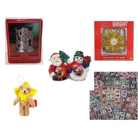 Christmas Fun Gift Bundle [5 Piece] - Home For The s Snowman Votive Holder - Deck The Halls Lighted Burst Gold Tree Topper - Santa & Snowman Photo Holders 1.5