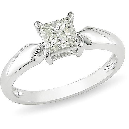 Miabella 3/4 Carat T.W. Princess Cut Diamond Solitaire Ring in 14kt White Gold