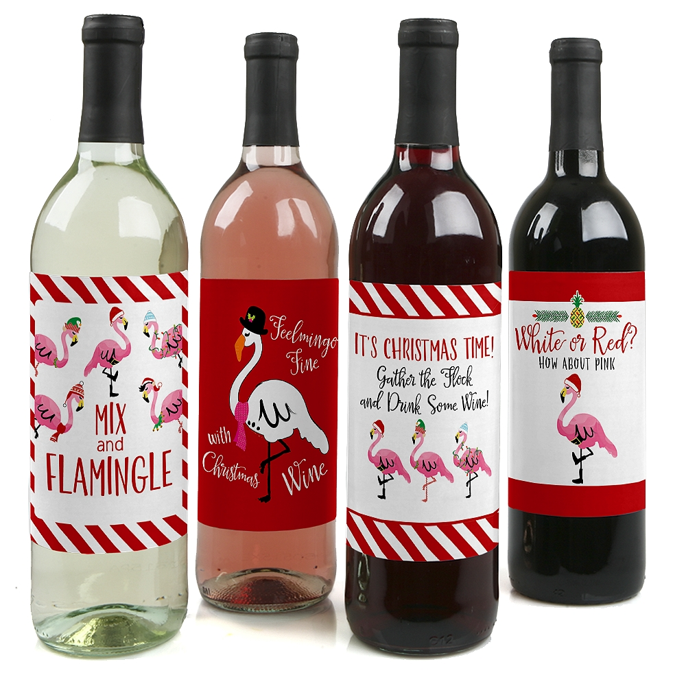 Flamingle Bells - Tropical Flamingo Christmas Wine Bottle Label Stickers - Set of 4