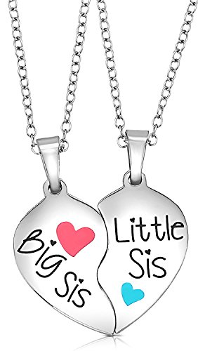 Big Sis /& Little Sis Heart Necklace Set Sister Necklace Jewelry Gift Set for 2