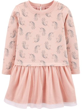 Child of Mine by Carter's Toddler Girl Long Sleeve Cotton & Tulle Knit Dress