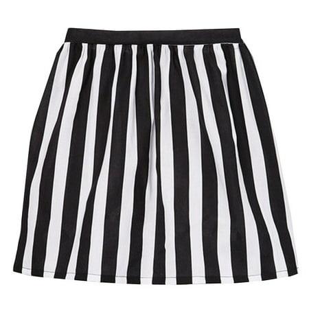 Girls Black White Contrast Vertical Striped Pattern Cotton Skirt 7-10