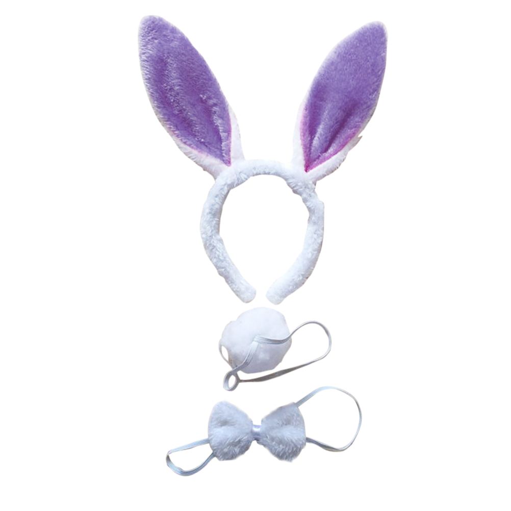 Child Pink White Bunny Easter Rabbit Kit Ear Hband Bow Tie /& Tail Party Costume