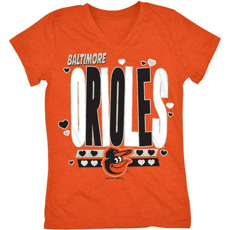 MLB Baltimore Orioles Girls Short Sleeve Team Color Graphic Tee