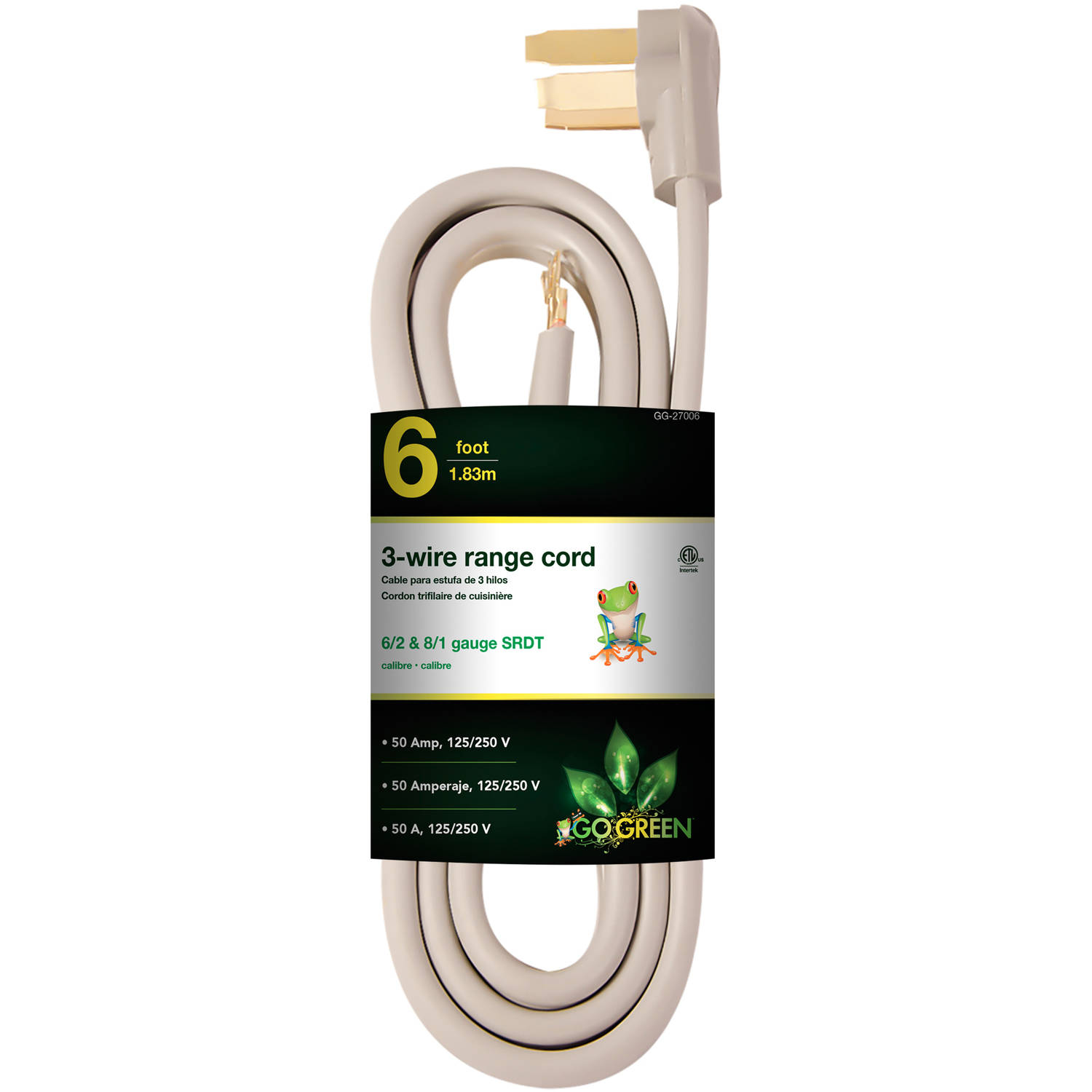 GoGreen Power 6' 3-Wire Range Cord, Gray, 27006