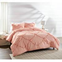 Better Homes & Gardens Full or Queen Textured Scallop Comforter Set, Blush, Full/Queen