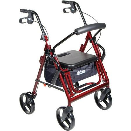 Drive Medical Duet Dual Function Transport Wheelchair Walker Rollator  Burgundy