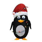 Northlight Seasonal Candy Lane Pre-Lit Cane 2D Penguin Christmas Yard Art Decoration