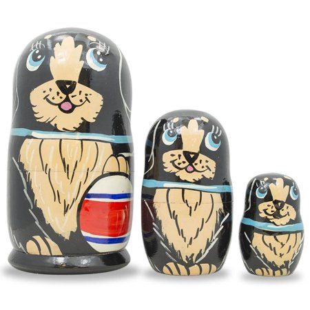 Dolly 5 Inch Chunky Heel - Set of 3 Black Dog with Ball and Bow Wooden Matryoshka Russian Nesting Dolls 5 Inches