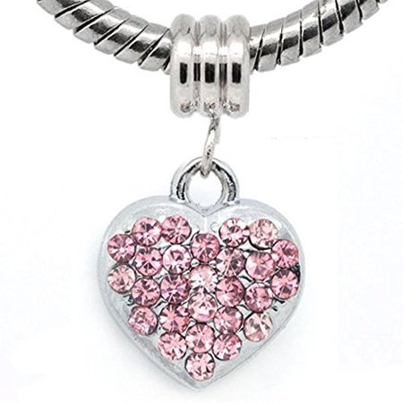 Pink Rhinestone Heart Dangle European Bead Compatible for Most European Snake Chain (Rhinestone Snake)