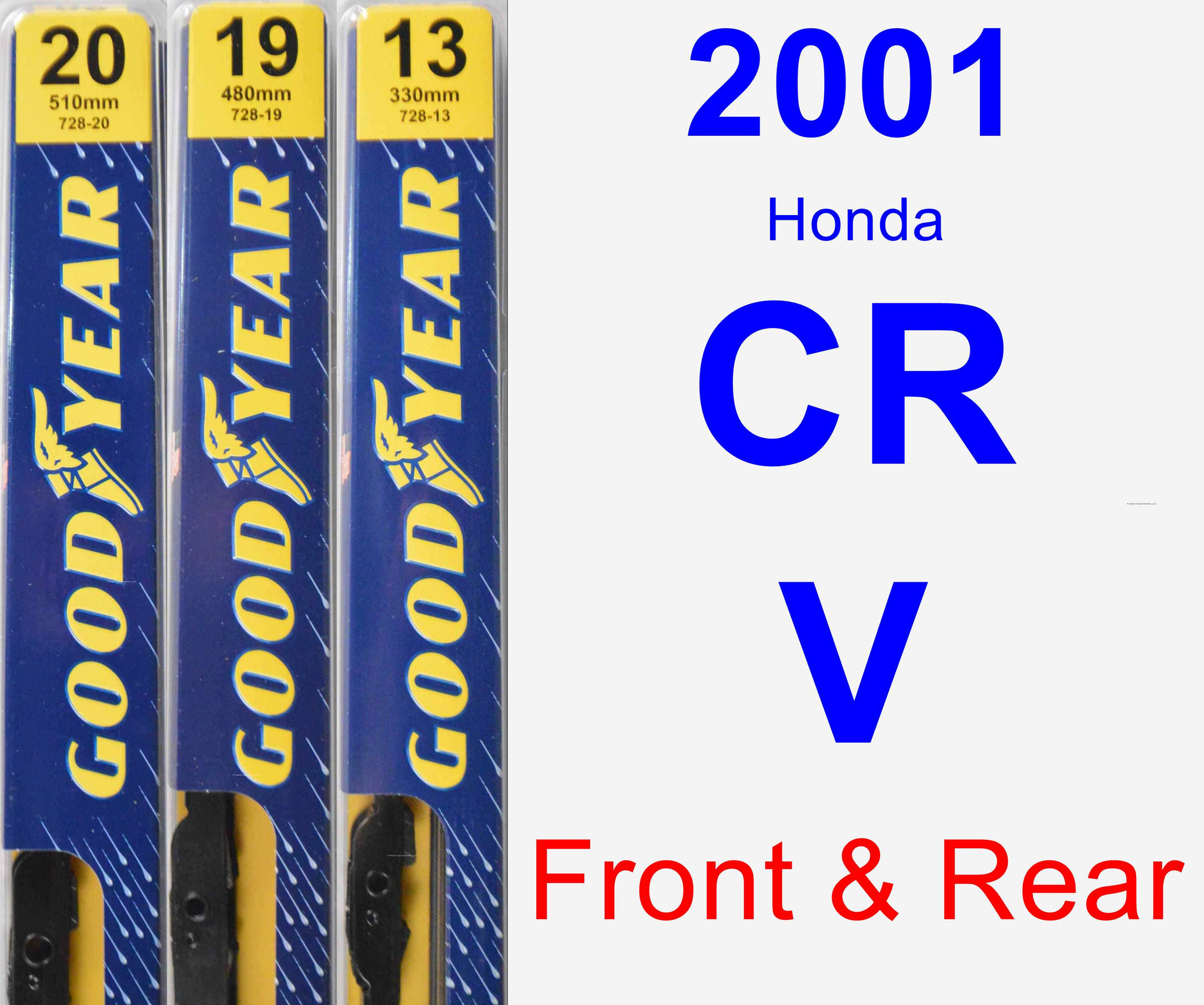 1997-2001 Lexus ES300 Goodyear Hybrid Style Wiper Blade Set of 2