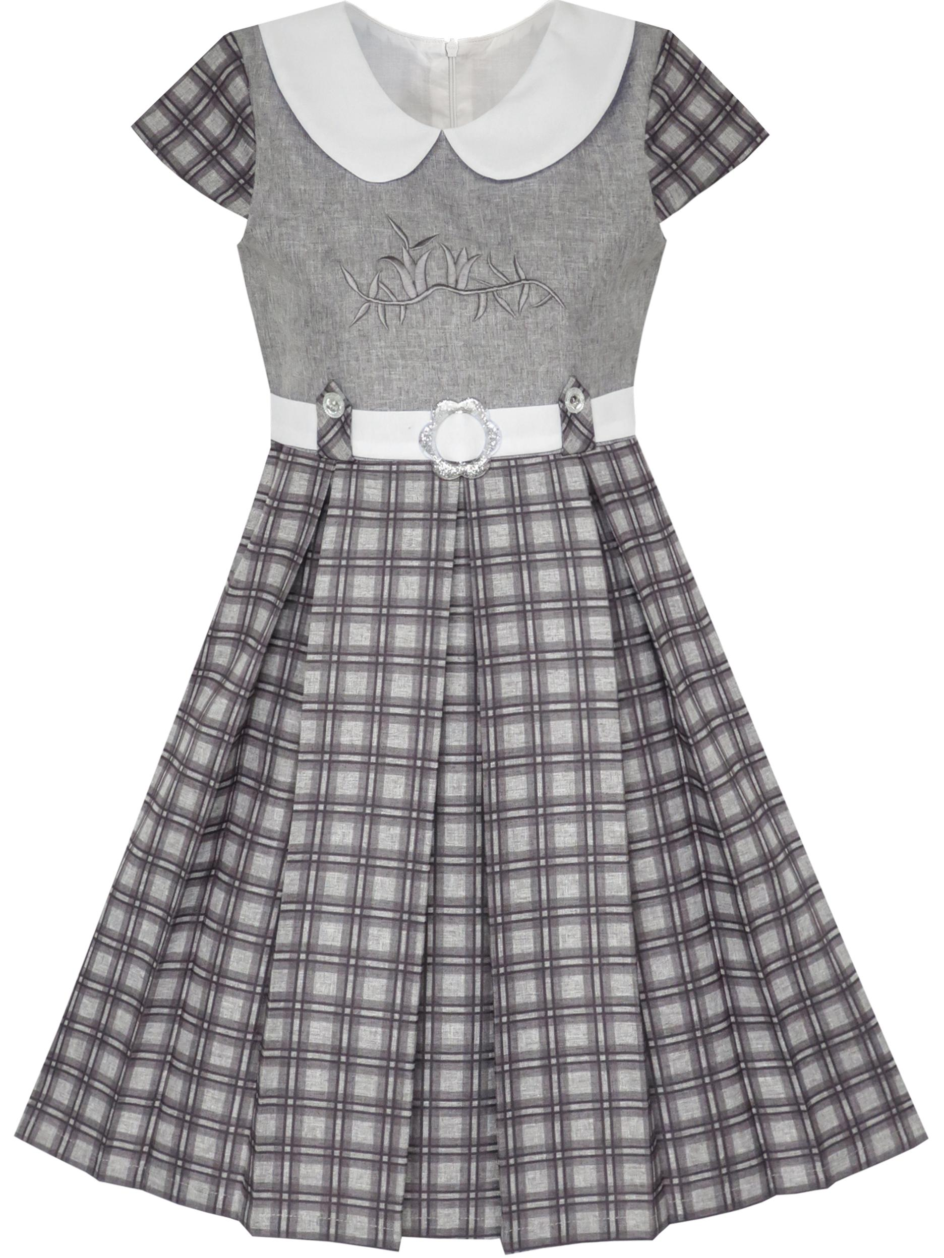 Girls Dress Pink Belted School Uniform Pleated Hem 4