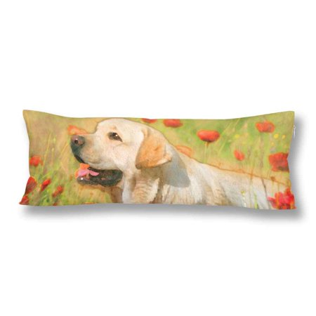 GCKG Yellow Labrador Poppy Field Spring Flower Body Pillow Covers Case Protector 20x60 inches - image 2 of 2