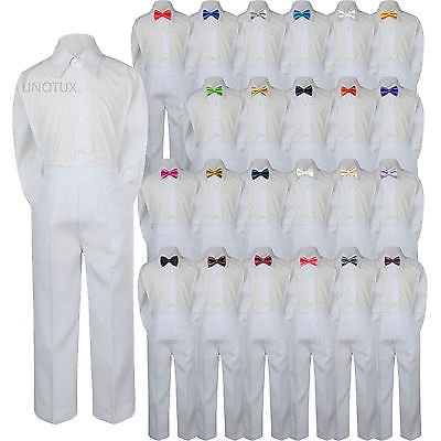 23 Color 3pc Set Bow Tie Boy Baby Toddler Kids Formal Suit Shirt White Pants S-7 - Orange Jumpsuit Buy