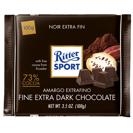 Extra Large Chocolate (Ritter Sport Fine Extra Dark Chocolate, 73% Cocoa, 100g (3.5 oz))
