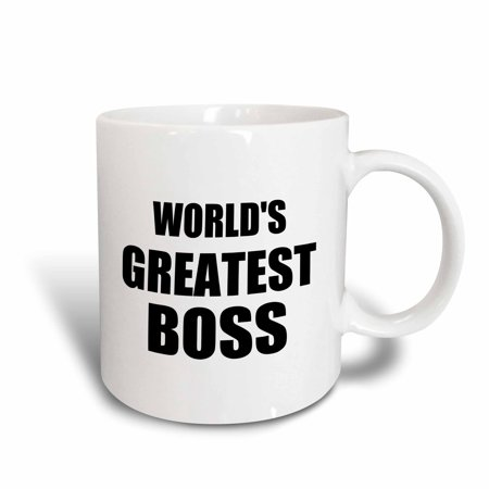 Design 24 Ounce Teapot - 3dRose Worlds Greatest Boss. black text. great design for the best boss ever, Ceramic Mug, 15-ounce