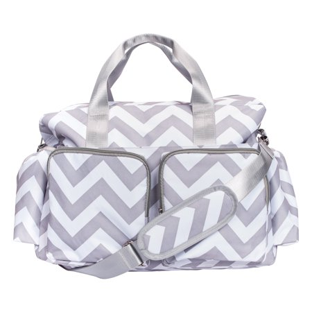 Trend Lab Gray & White Chevron Deluxe Duffle Diaper Bag
